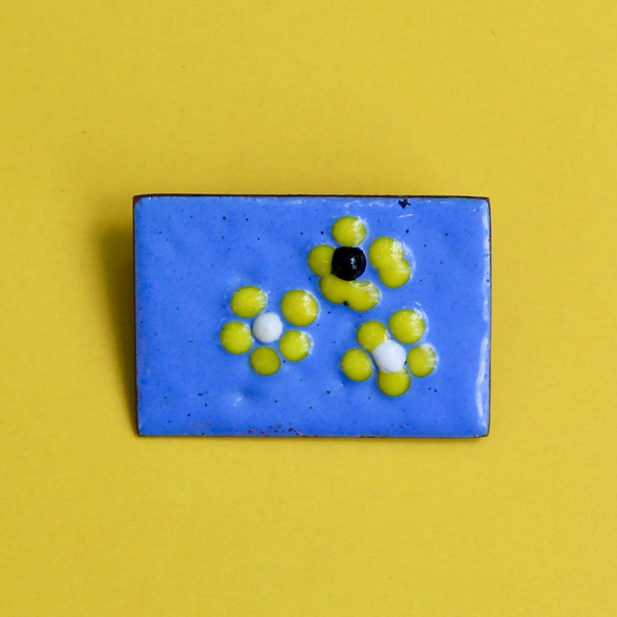 1950s German Copper Enamel Brooch Blue with Yellow Flowers YELLOW BACKGROUND