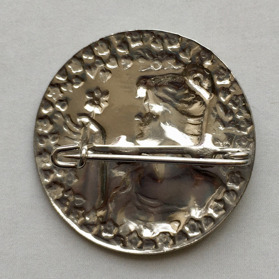 Jakob Bengel 1930s Woman with Flower Pin in Silver Metal