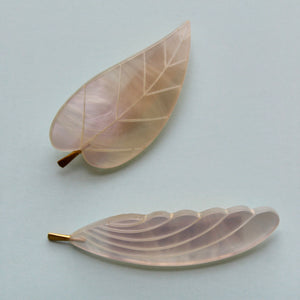 White Nylon Leaf or Feather Brooch
