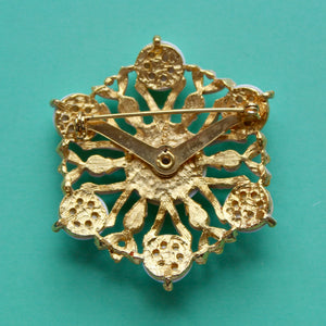 White Resin and Gold Snowflake Brooch