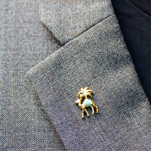 Camel and Palm Tree Gold Lapel Pin