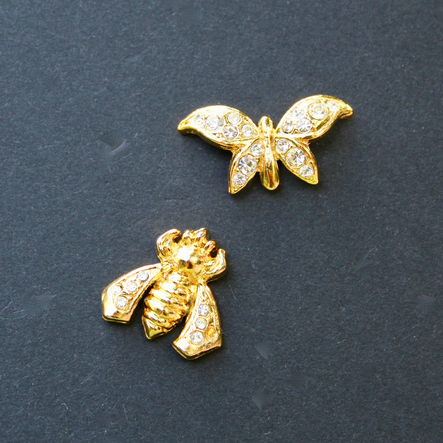 Gold Bee and Butterfly Lapel Pins