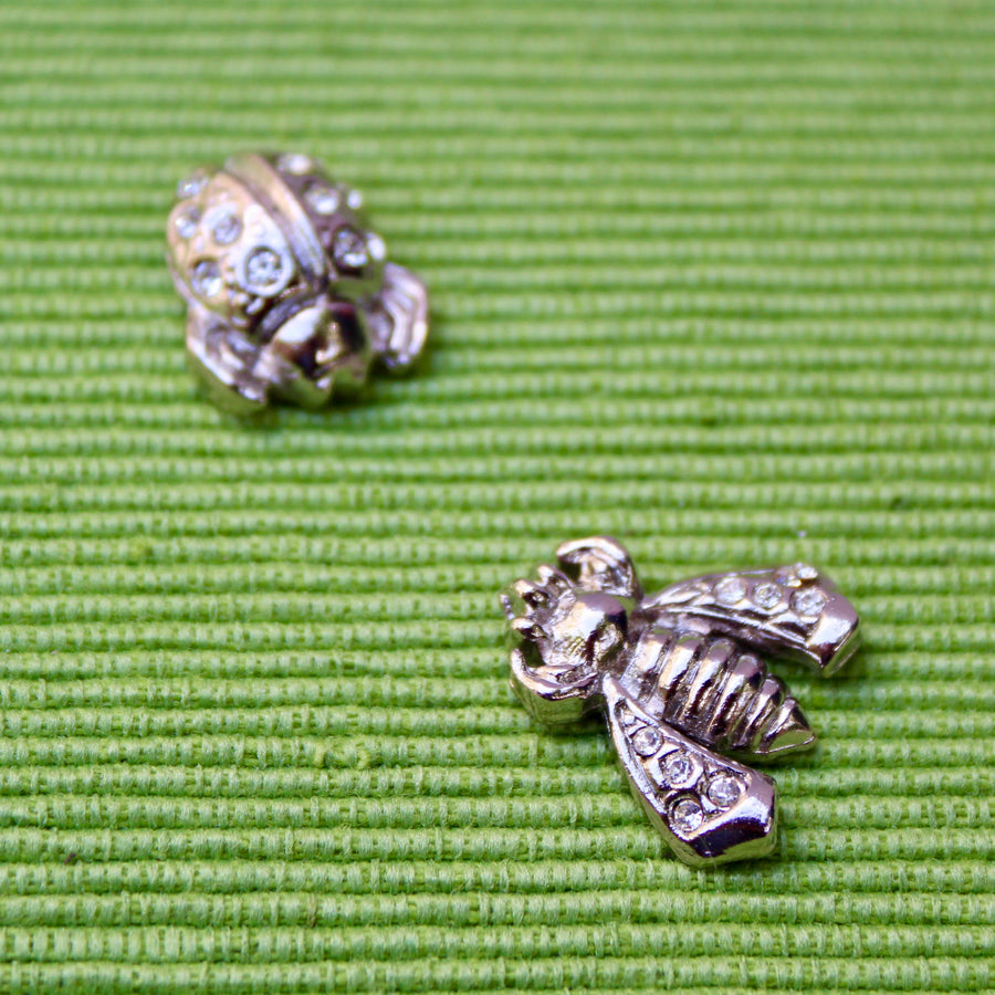 Silver Bee and Ladybird Lady Bug Lapel Pins