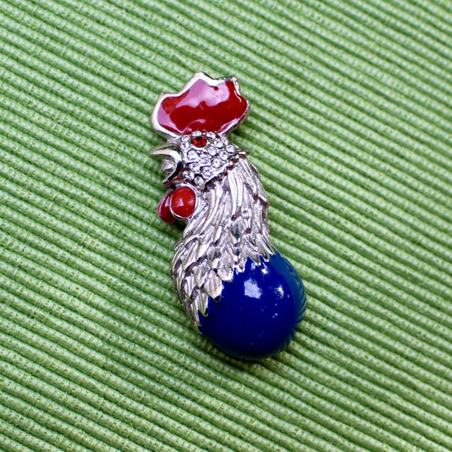 Rooster Lapel Pin in Silver Red and Blue