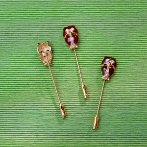 Red Brown and Black Owl Stick Pins
