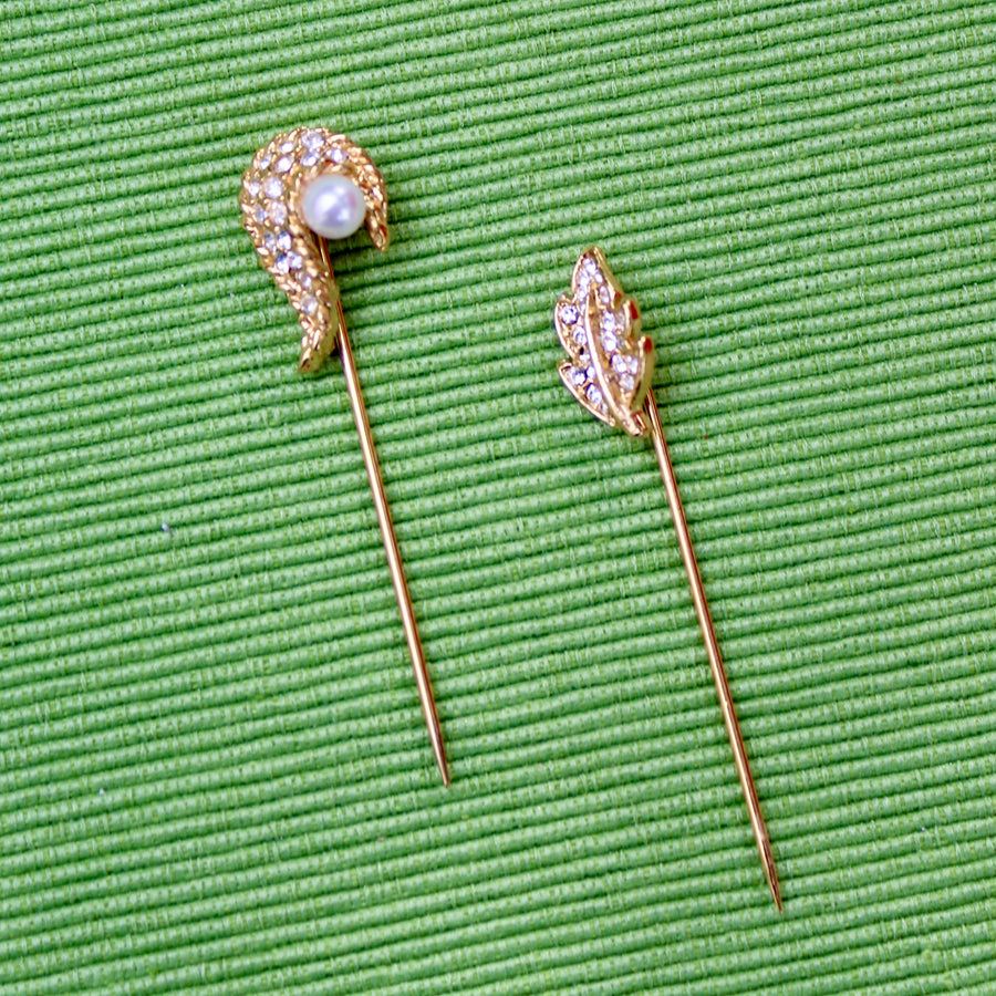 Gold Pearl Paisley Shape and Leaf Stick Pins