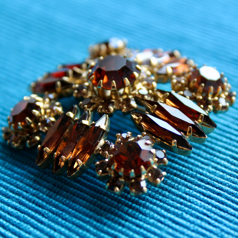 Brown Square Rhinestone Brooch