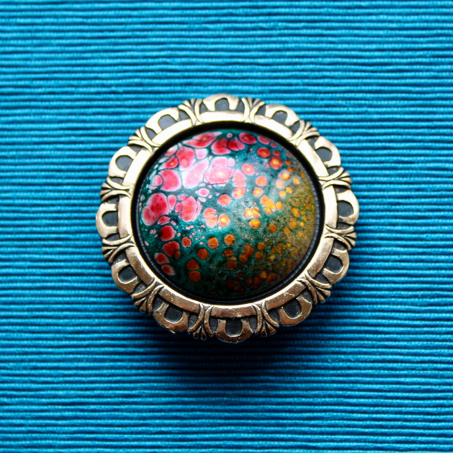 Large Planet Glass Brooches