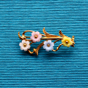 Plastic Floral Spray Brooch