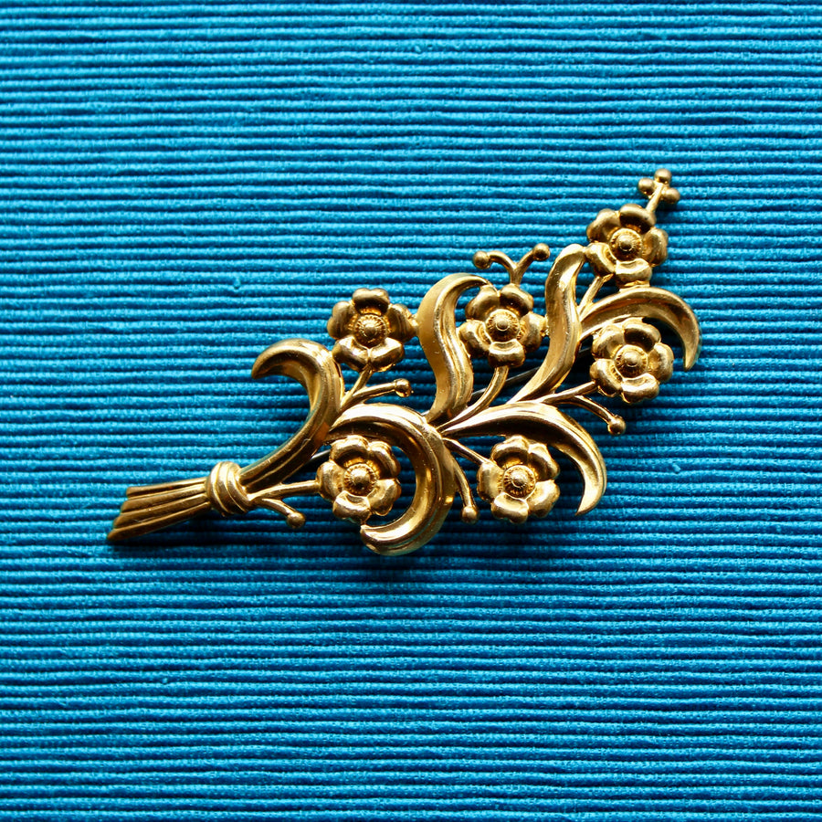 Brass Floral Spray Brooch
