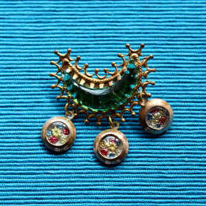Green Glass Moon Brooch with Flowers