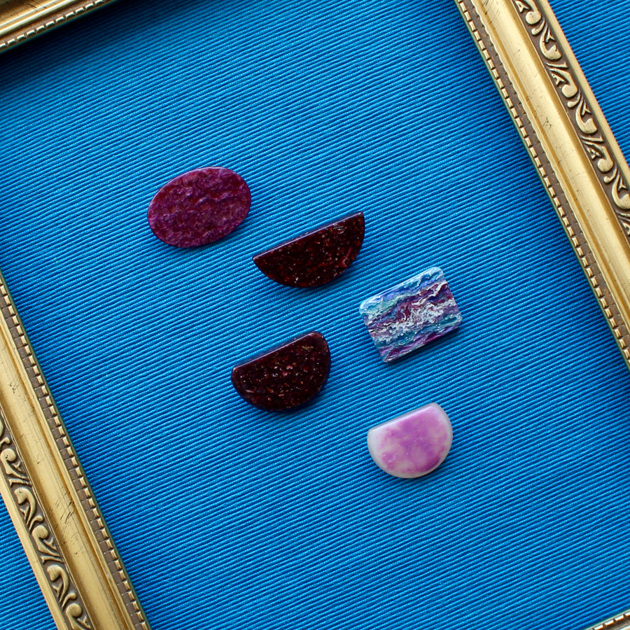 Burgundy and Purple Upcycled 1980s Jewellery Pins