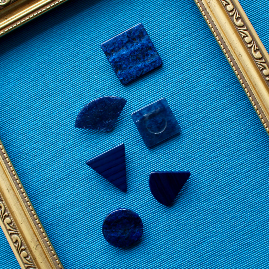 Marbled Blue Upcycled 1980s Jewellery Pins
