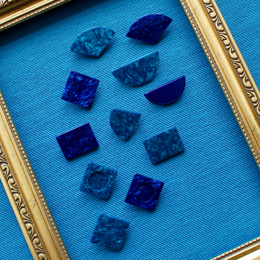 Dark Blue and Teal Upcycled 1980s Jewellery Pins