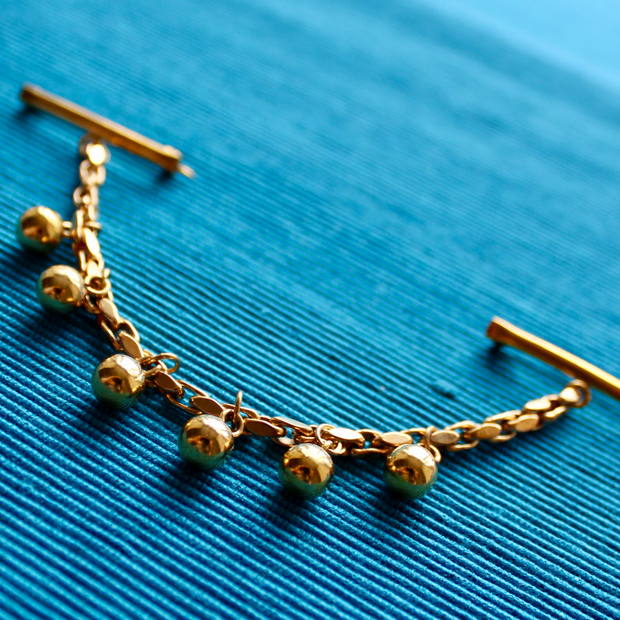 Double Collar Pins with Chain and Baubles