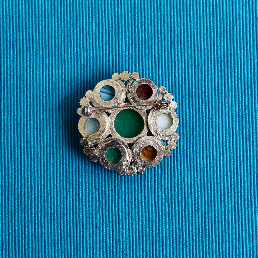 1960s Glass Scottish Style Brooch