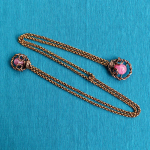 Pink 1950s Double Brooch or Chatelaine with Chains or Doublet Brooch