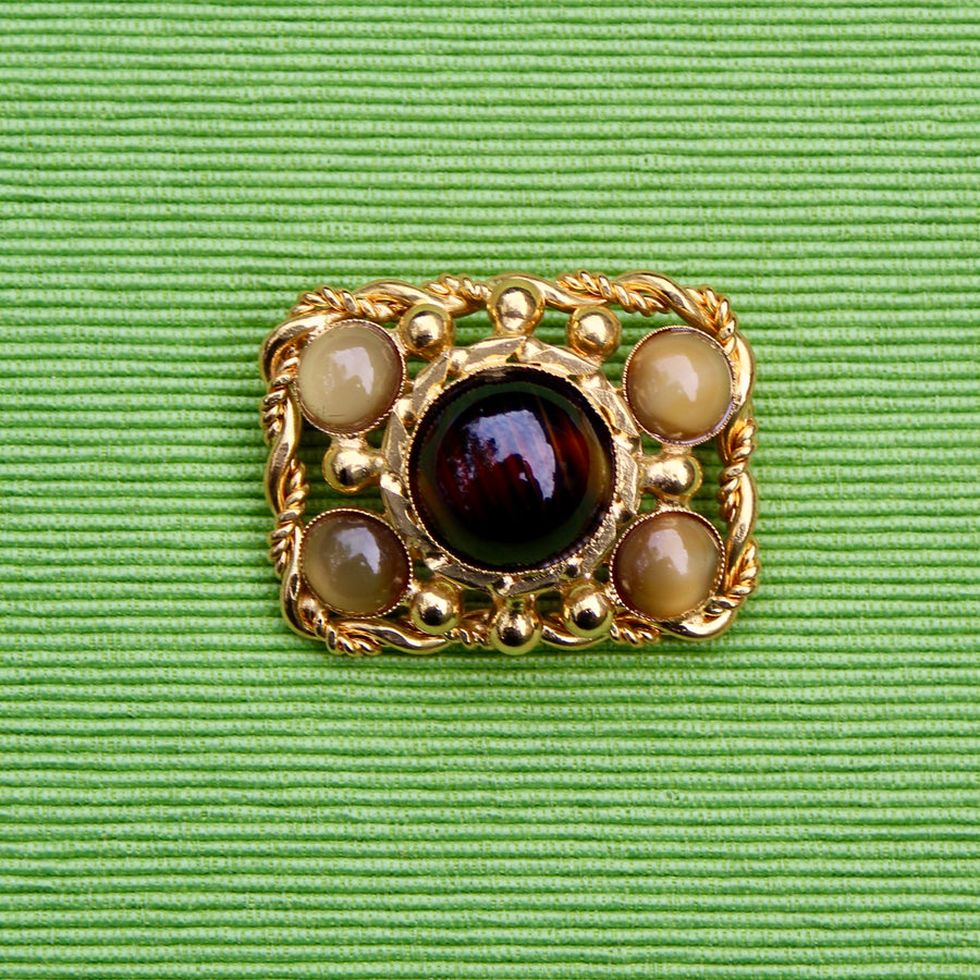 1960s Brown Cabochon Rectangle