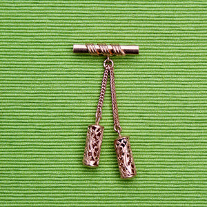1930s Rose Gold Bar Pin with Cylinders