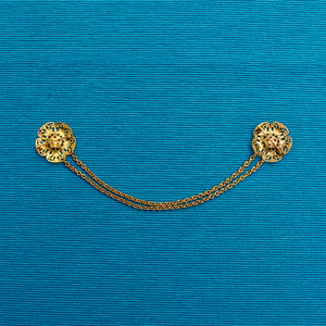 1930s Rose Floral Filigree Brass Doublet Chain Brooch