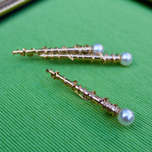Wire and Pearl Brooches
