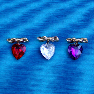 Bow and Heart Brooches