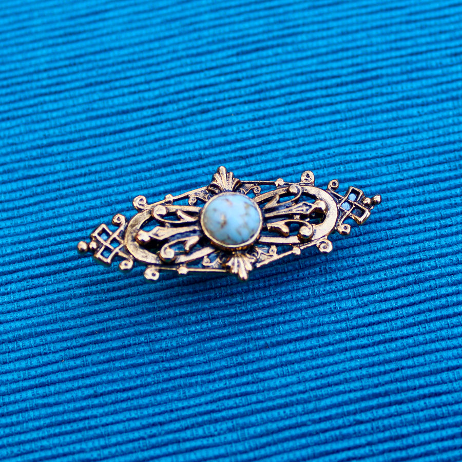 1980s Victorian Revival Copper Turquoise Blue
