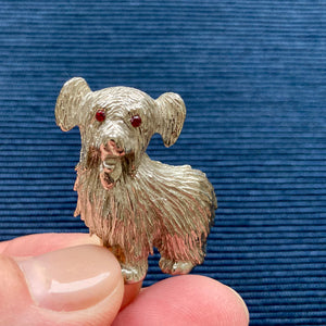 Red Eyed Silver Dog Brooch