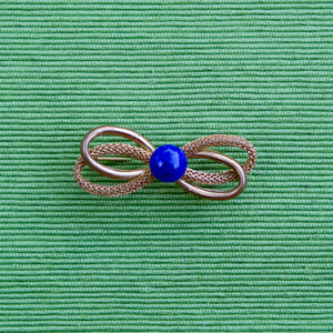 Blue Double Bow Pin
