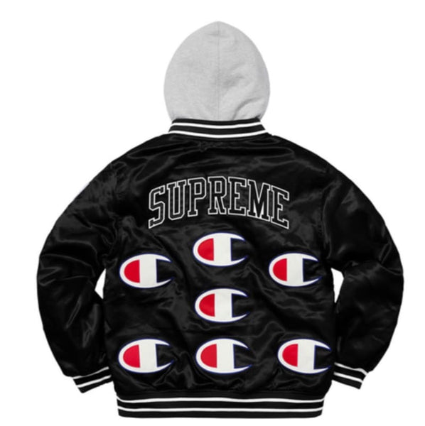 Supreme x Champion Hooded Satin Varsity Jacket