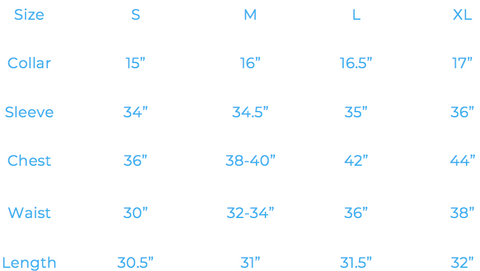 the size guide to our shirts with neck and chest and waist and sleeve measurements