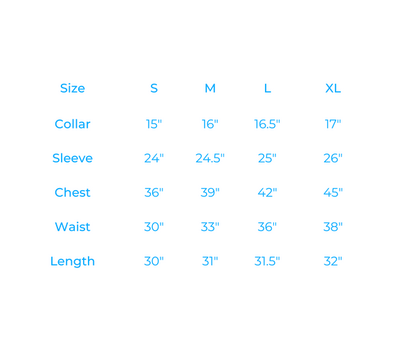size guide for our shirt collection
