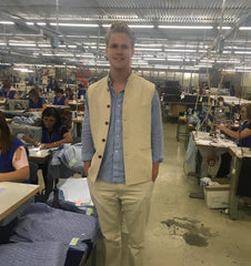 the founder of the hemp shirt business in the factory where the shirts are made