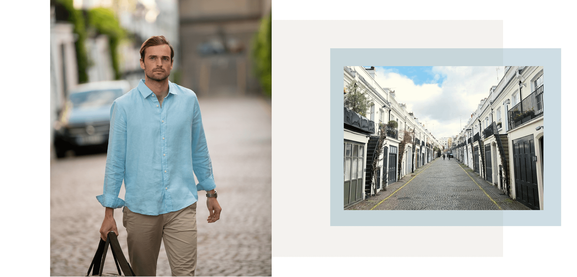 a Samarkand blue hemp shirt being worn by a model as he walks down the street. part of the collection of hemp clothing by babble & hemp.