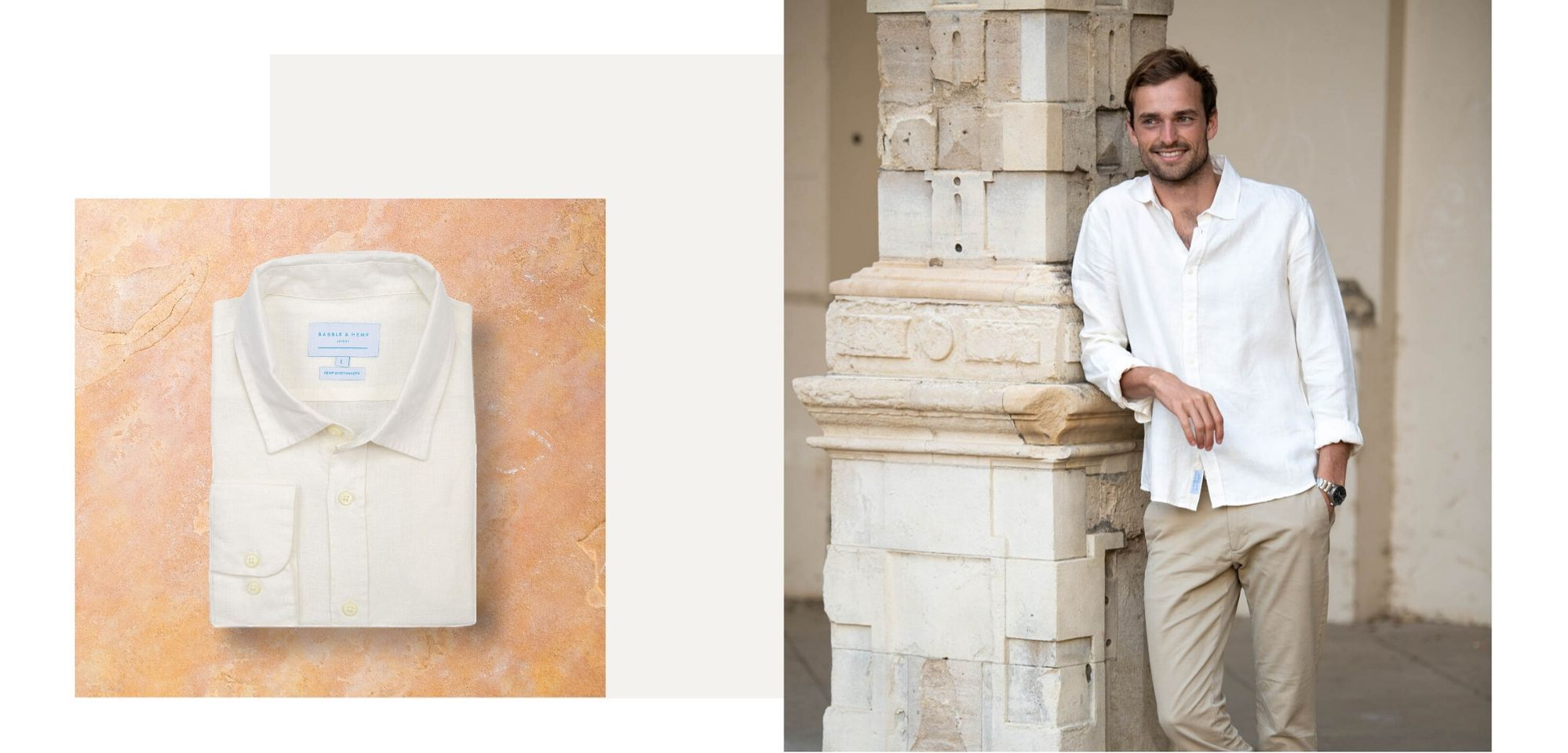 hemp clothing by babble & hemp. an image showing a man wearing our portobello ivory off-white hemp shirt whilst leaning against a pillar