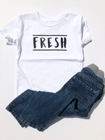 Fresh design on white kids t-shirt.