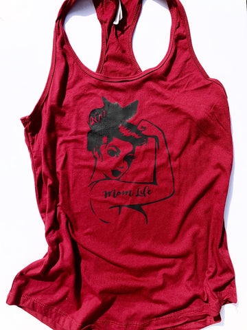 Rosie Mom Life on red women's tank top.