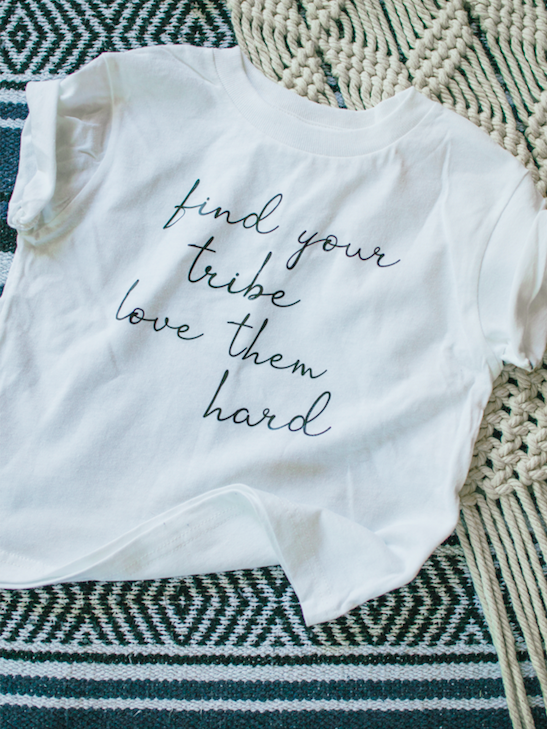 Find your tribe on white kids t-shirt.