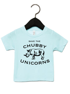 Save the chubby unicorns on an ice blue kids t-shirt.