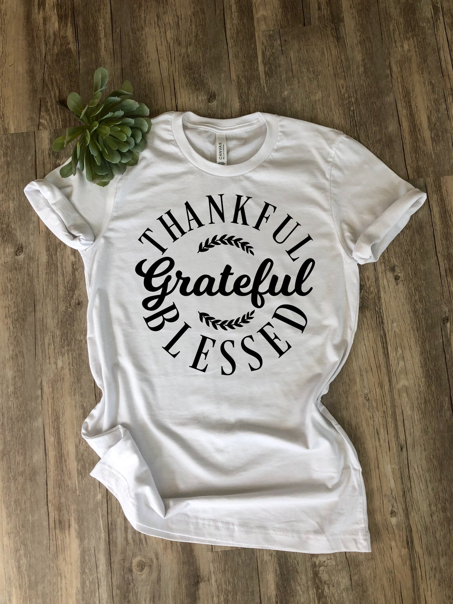 ADULT Thankful Grateful Blessed Tshirt