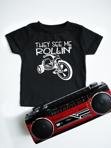 They see me rollin' kids black t-shirt.