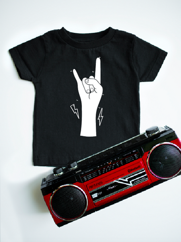 Rock on graphic on black kids t-shirt.