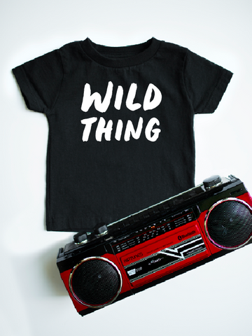 Wild Thing design on black kids t-shirt