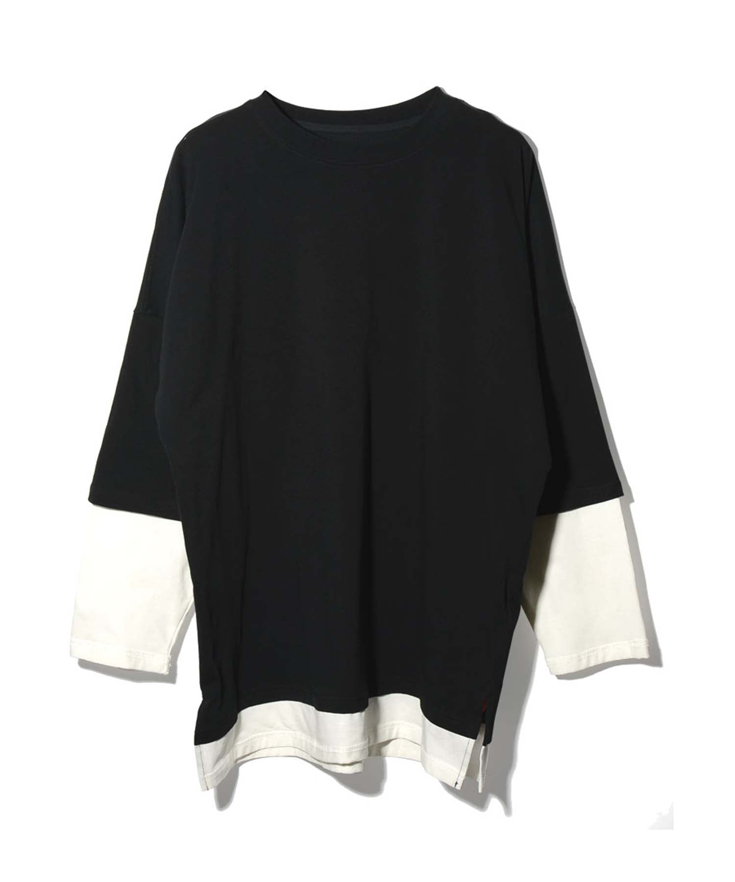 Layered drop shoulder over long sleeve T-shirt