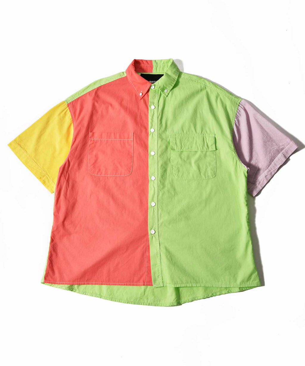 color switching short sleeve shirt