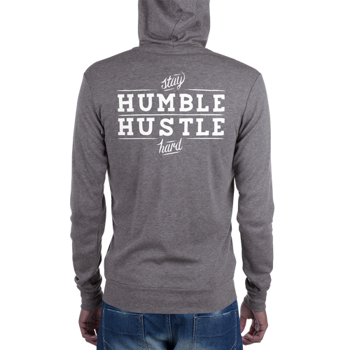 'Stay Humble, Hustle Hard' Unisex full-zip hoodie
