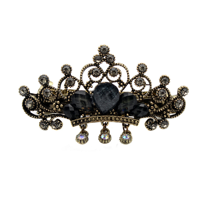 Black Crystal Crown Hair Clip