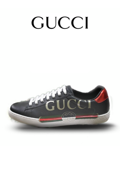 43ac572c41c GUCCI ACE BLACK LEATHER SNEAKERS – 5starclothing.co.uk