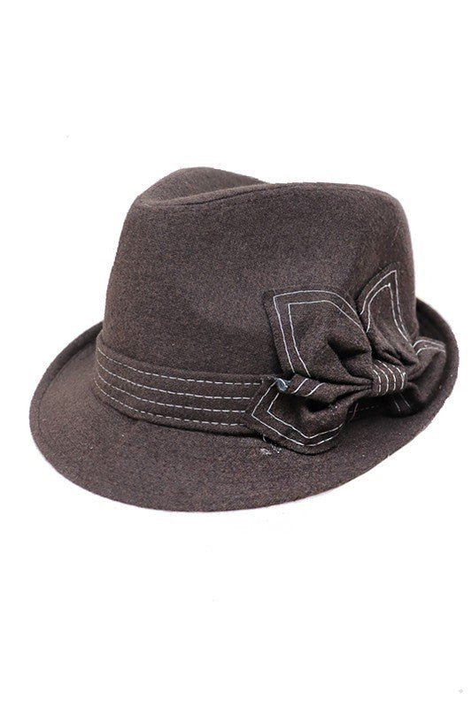 Fedora With White Stitch Bow