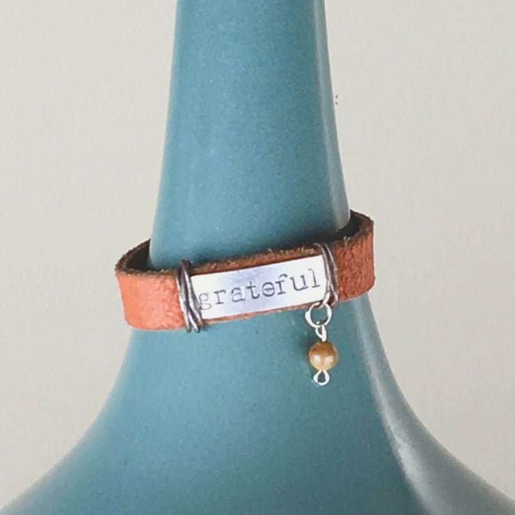 Inspirational Leather Bracelet with Charm